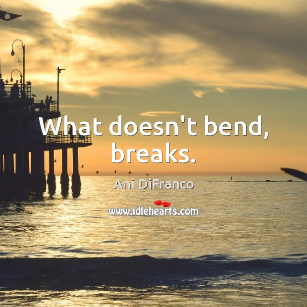 What doesn't bend, breaks. Ani DiFranco Picture Quote
