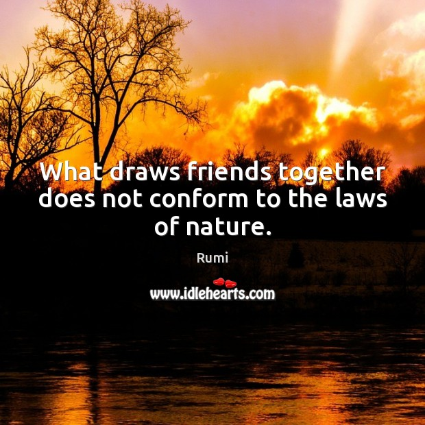 What draws friends together does not conform to the laws of nature. Image