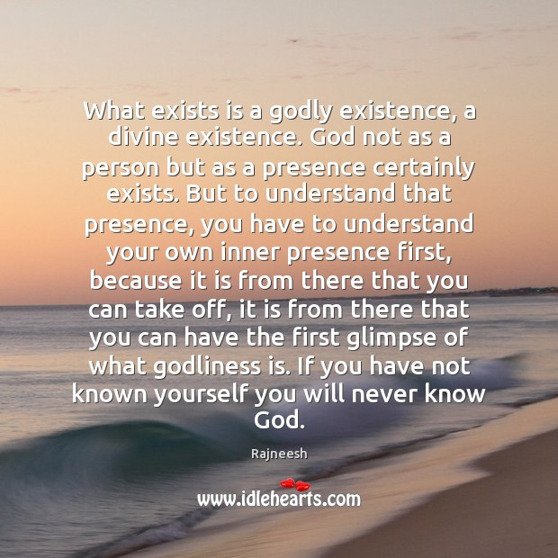 What exists is a Godly existence, a divine existence. God not as Image