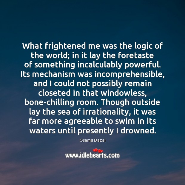 Image, What frightened me was the logic of the world; in it lay