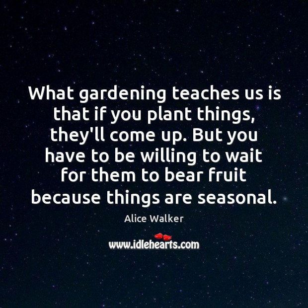What gardening teaches us is that if you plant things, they'll come Image