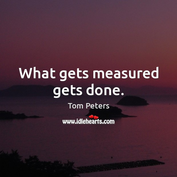 What gets measured gets done. Image