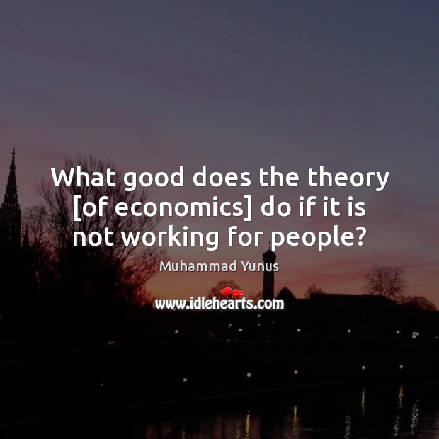 What good does the theory [of economics] do if it is not working for people? Muhammad Yunus Picture Quote