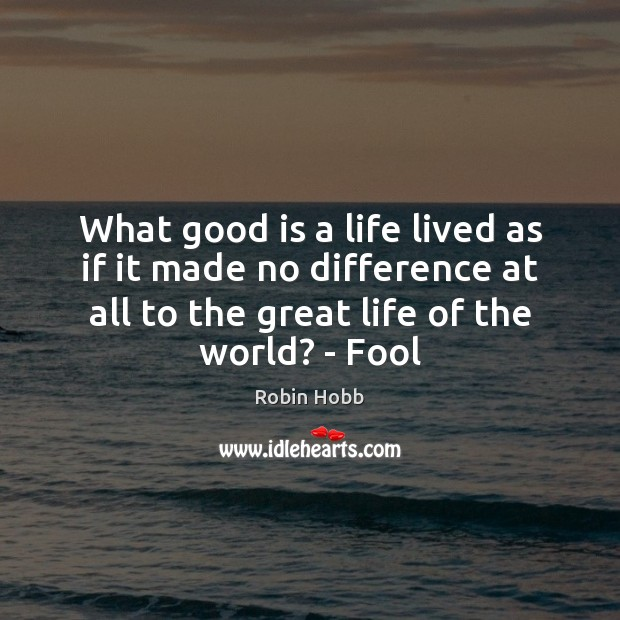 What good is a life lived as if it made no difference Robin Hobb Picture Quote