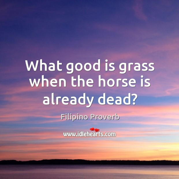 What good is grass when the horse is already dead? Filipino Proverbs Image