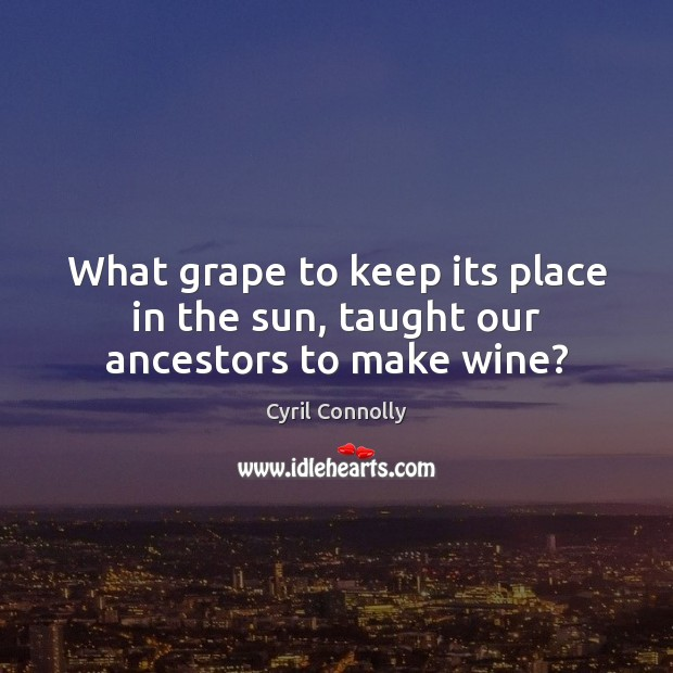 What grape to keep its place in the sun, taught our ancestors to make wine? Cyril Connolly Picture Quote