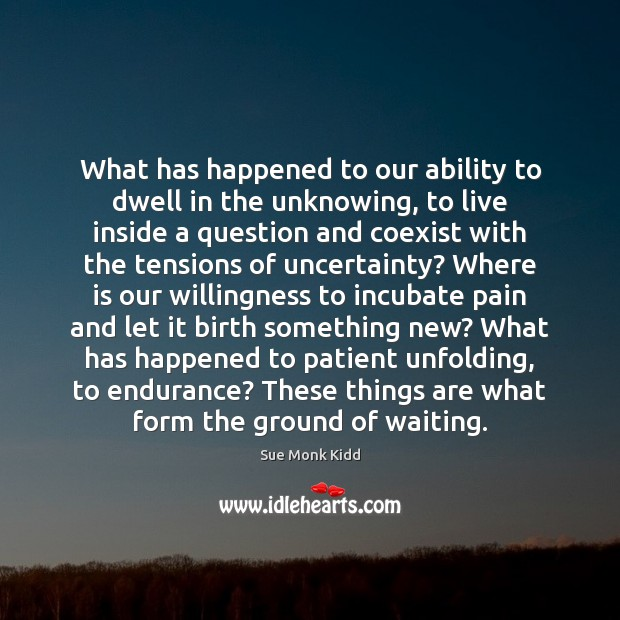 What has happened to our ability to dwell in the unknowing, to Image