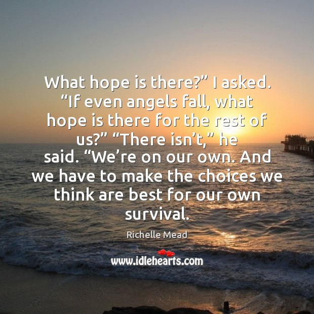 "Image, What hope is there?"" I asked. ""If even angels fall, what hope"