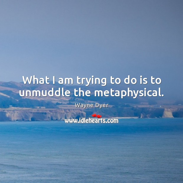 What I am trying to do is to unmuddle the metaphysical. Image