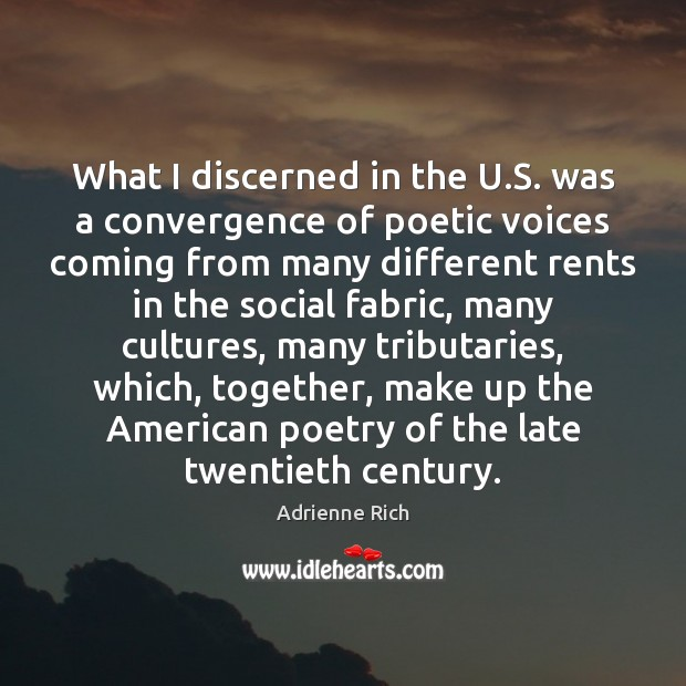 What I discerned in the U.S. was a convergence of poetic Adrienne Rich Picture Quote