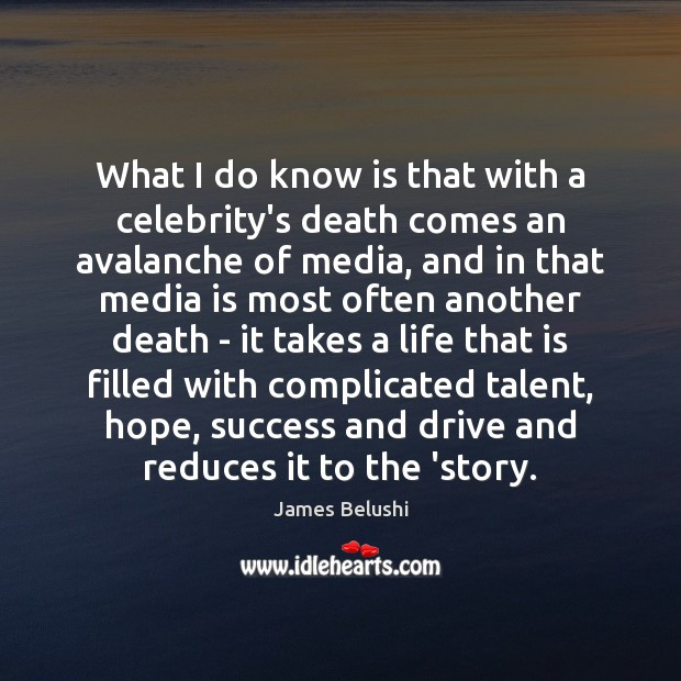 What I do know is that with a celebrity's death comes an Image