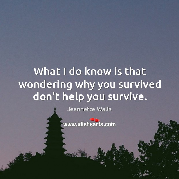 What I do know is that wondering why you survived don't help you survive. Image