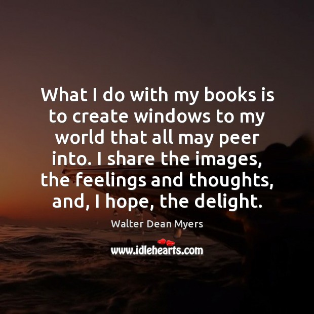 Image, What I do with my books is to create windows to my