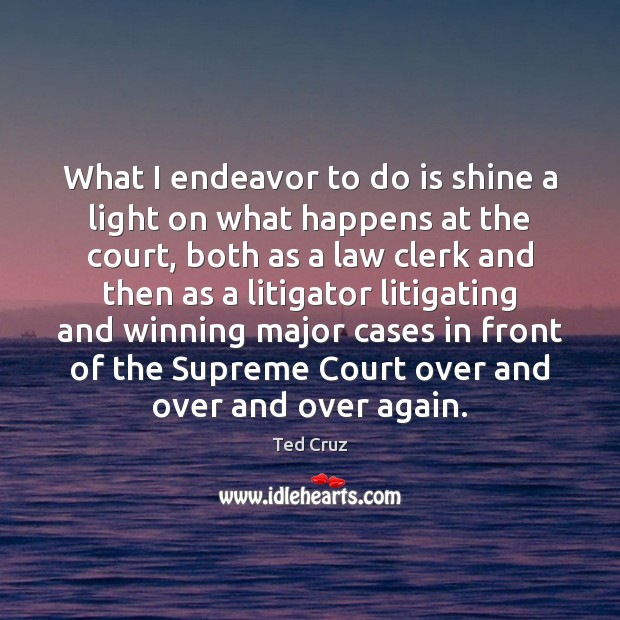 What I endeavor to do is shine a light on what happens Ted Cruz Picture Quote