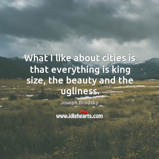 What I like about cities is that everything is king size, the beauty and the ugliness. Image