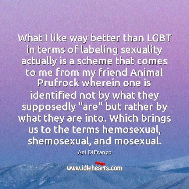 What I like way better than LGBT in terms of labeling sexuality Ani DiFranco Picture Quote