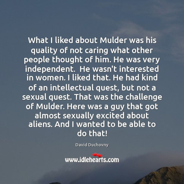 What I liked about Mulder was his quality of not caring what David Duchovny Picture Quote