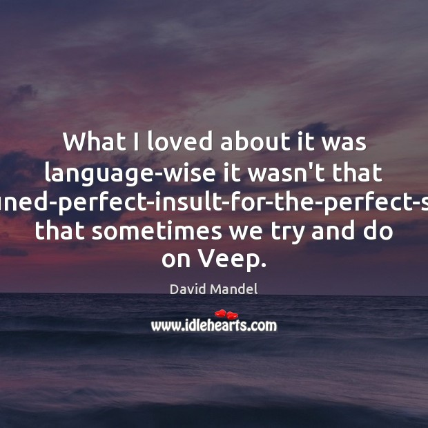 What I loved about it was language-wise it wasn't that finely-tuned-perfect-insult-for-the-perfect-situation that David Mandel Picture Quote