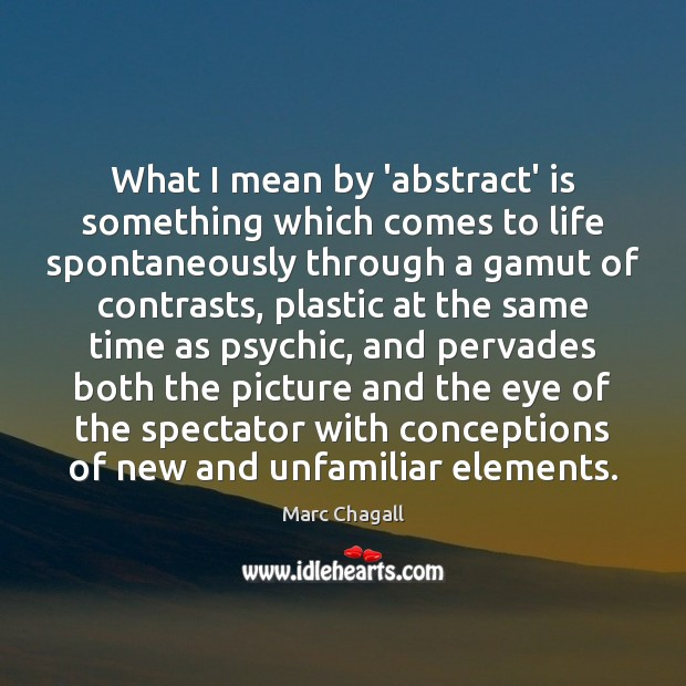 Image, What I mean by 'abstract' is something which comes to life spontaneously