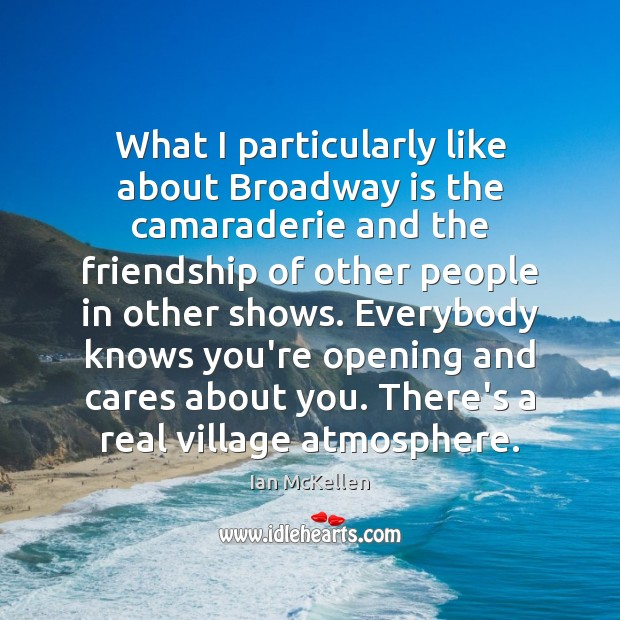 What I particularly like about Broadway is the camaraderie and the friendship Ian McKellen Picture Quote