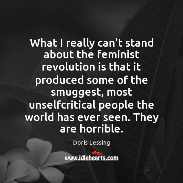 What I really can't stand about the feminist revolution is that it Doris Lessing Picture Quote