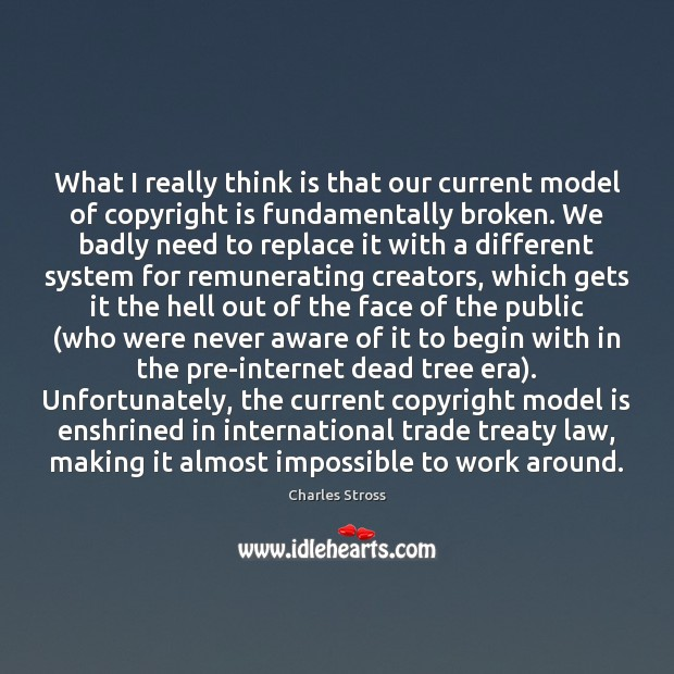 What I really think is that our current model of copyright is Image