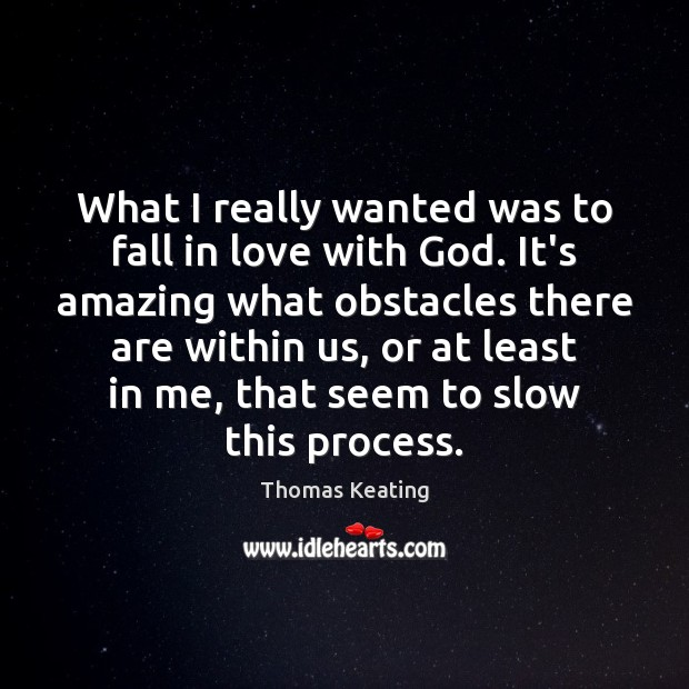 What I really wanted was to fall in love with God. It's Thomas Keating Picture Quote