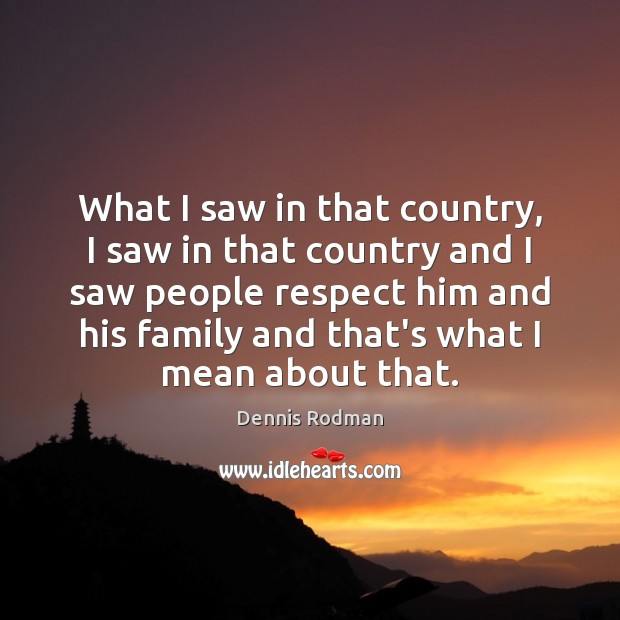 What I saw in that country, I saw in that country and Dennis Rodman Picture Quote