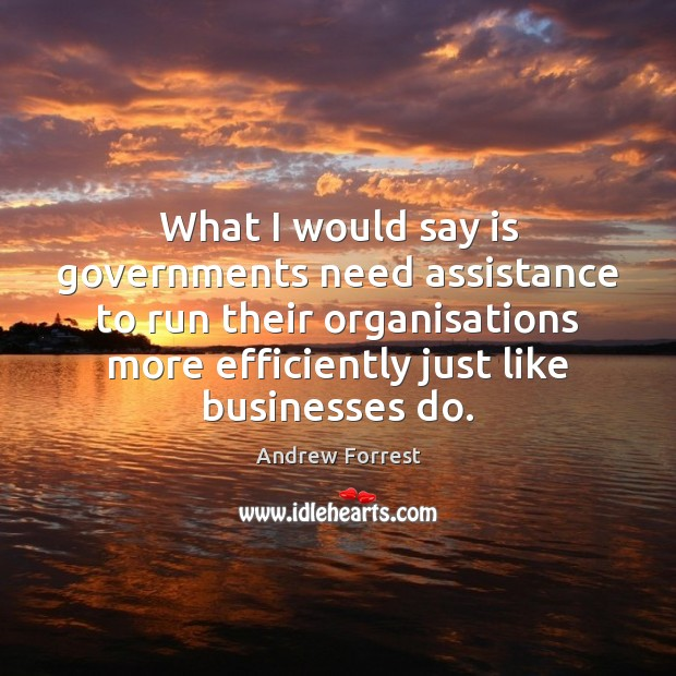 Image, What I would say is governments need assistance to run their organisations