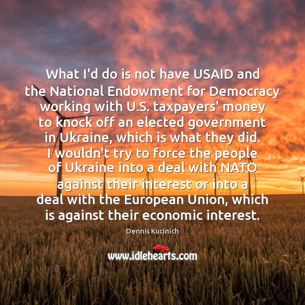 What I'd do is not have USAID and the National Endowment for Dennis Kucinich Picture Quote