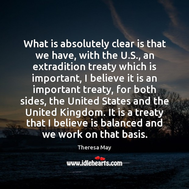 What is absolutely clear is that we have, with the U.S., Image