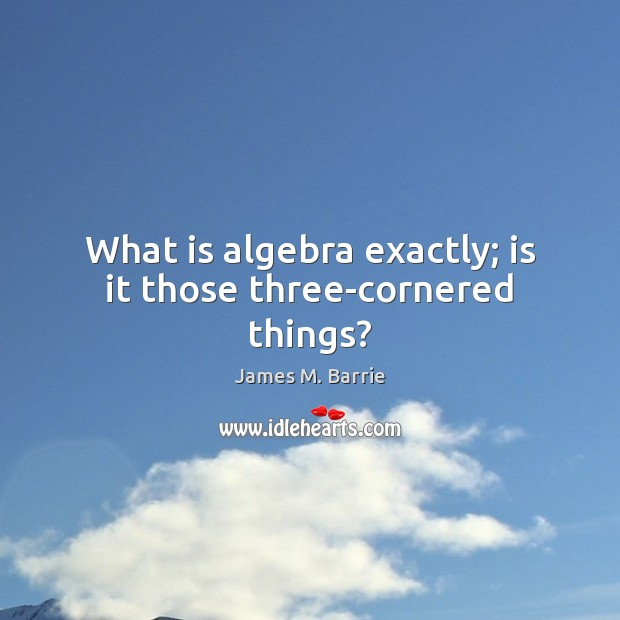 Image, What is algebra exactly; is it those three-cornered things?