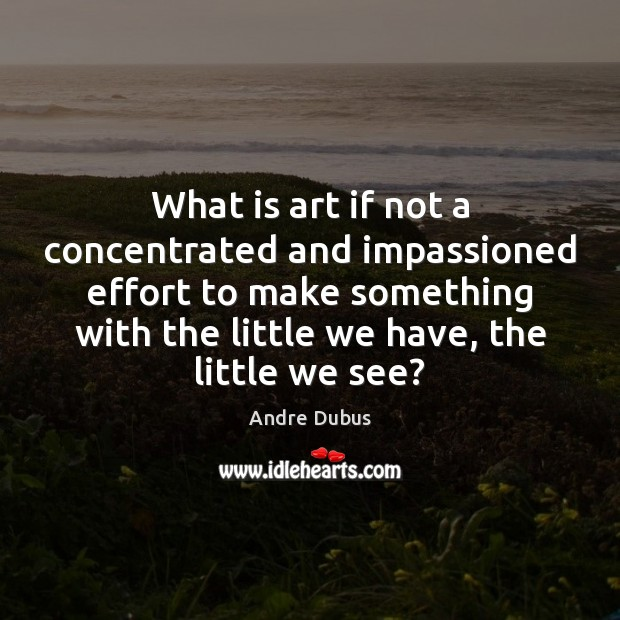 What is art if not a concentrated and impassioned effort to make Andre Dubus Picture Quote