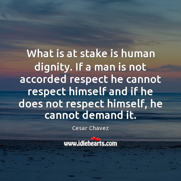 Image, What is at stake is human dignity. If a man is not