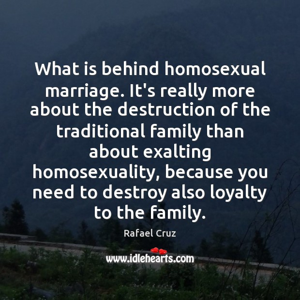 Image, What is behind homosexual marriage. It's really more about the destruction of