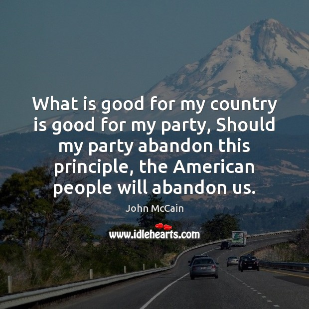What is good for my country is good for my party, Should Image