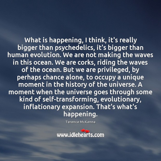 What is happening, I think, it's really bigger than psychedelics, it's bigger Terence McKenna Picture Quote