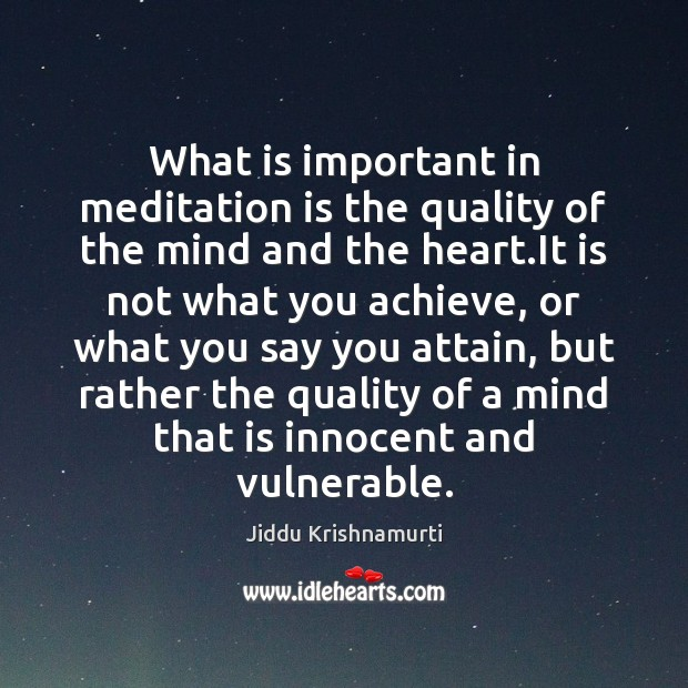 What is important in meditation is the quality of the mind and Image