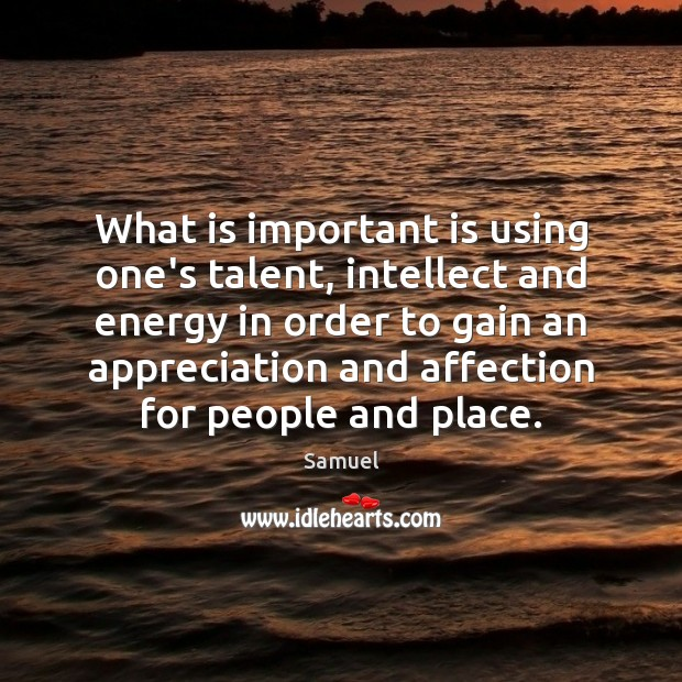 What is important is using one's talent, intellect and energy in order Image