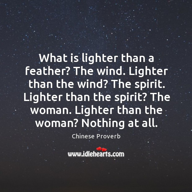 Image, What is lighter than a feather? the wind. Lighter than the wind?