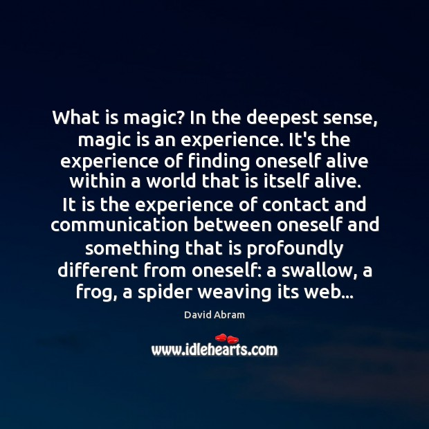 What is magic? In the deepest sense, magic is an experience. It's David Abram Picture Quote