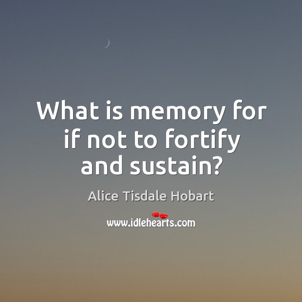 Image, What is memory for if not to fortify and sustain?