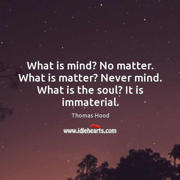 What is mind? No matter. What is matter? Never mind. What is the soul? It is immaterial. Thomas Hood Picture Quote