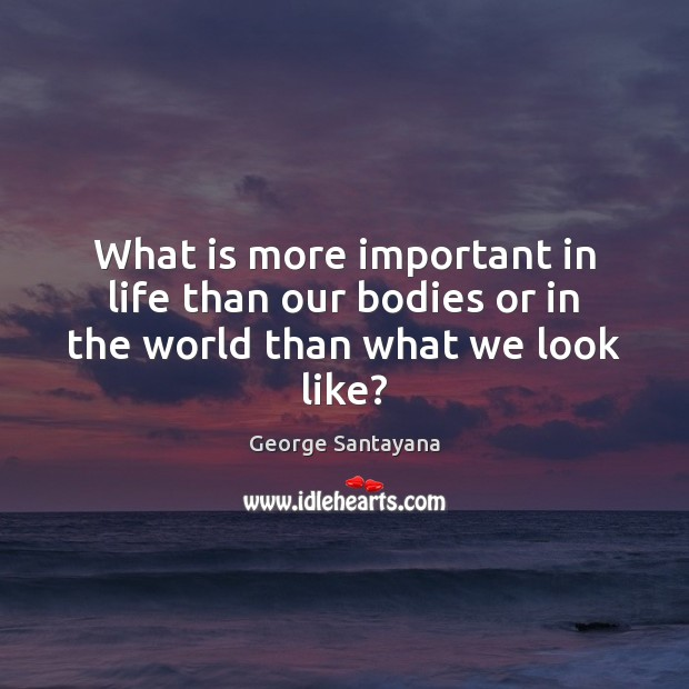 What is more important in life than our bodies or in the world than what we look like? George Santayana Picture Quote