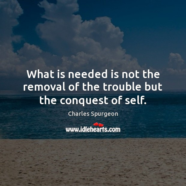 What is needed is not the removal of the trouble but the conquest of self. Image