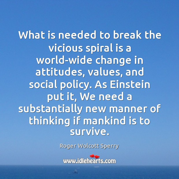 Image, What is needed to break the vicious spiral is a world-wide change