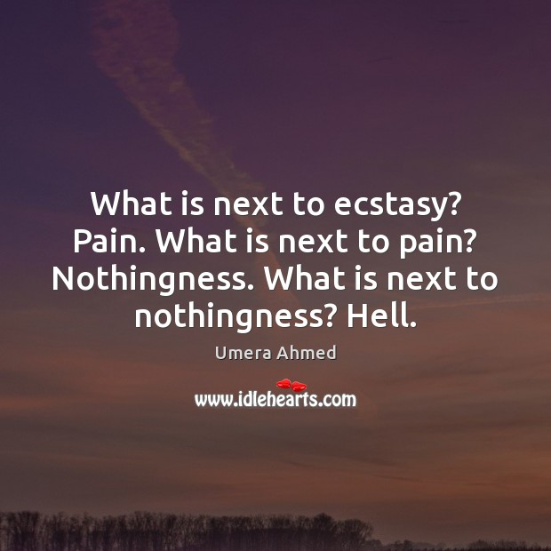 What is next to ecstasy? Pain. What is next to pain? Nothingness. Image