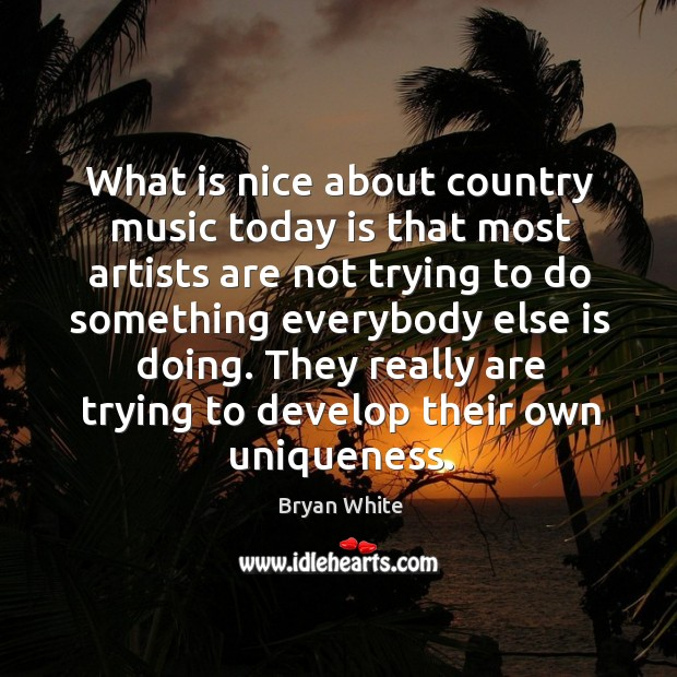 Image, What is nice about country music today is that most artists are not trying to do something
