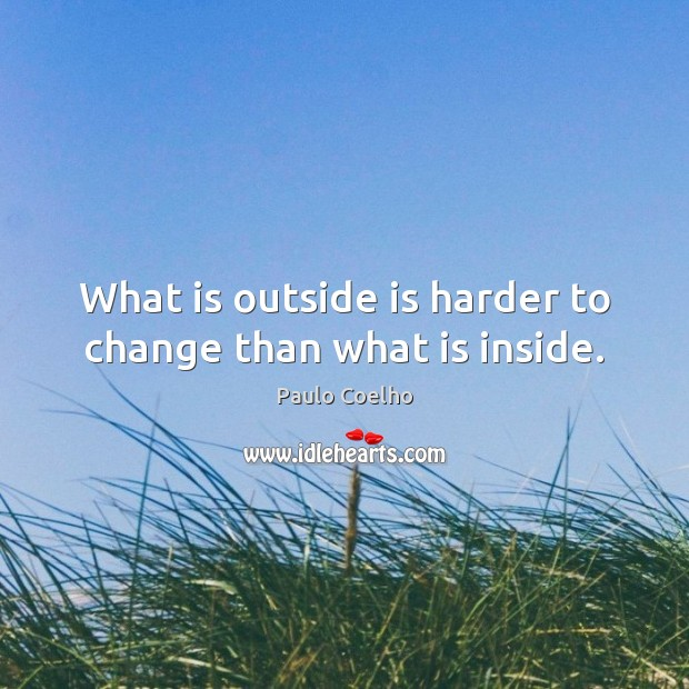 Image, What is outside is harder to change than what is inside.