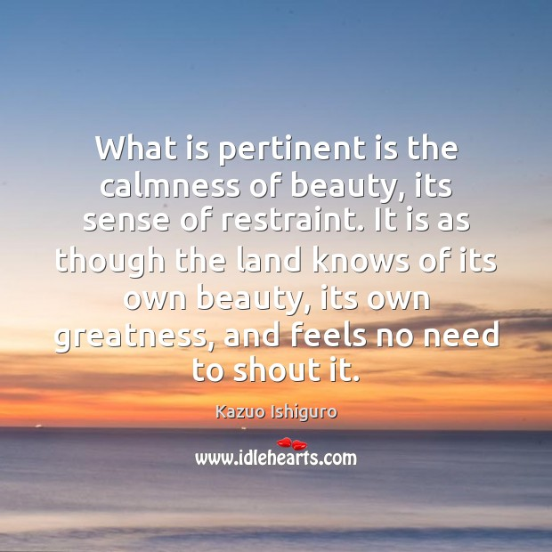 Image, What is pertinent is the calmness of beauty, its sense of restraint.